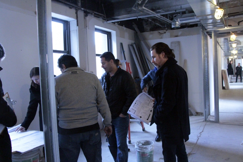 Board and construction staff in the cafe on January 20, 2015
